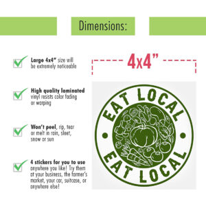 """""""Eat Local"""" Vegetable Stickers (5 Large Decals)"""