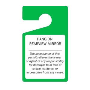 Parking Permit Hang Tags (Green)