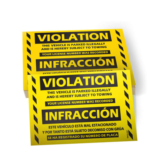 Parking Violation Stickers (Bilingual - English/Spanish)
