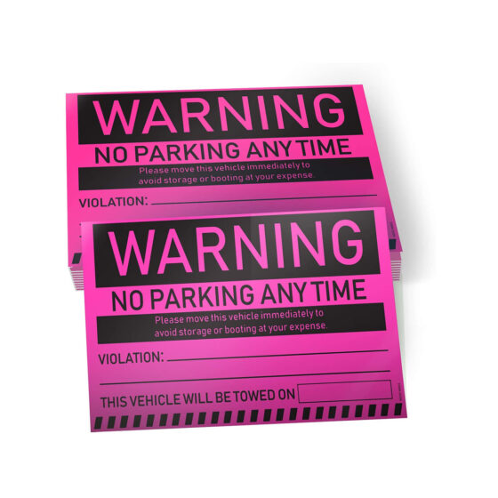 Warning - No Parking Any Time Stickers