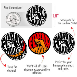 """""""Made in Florida"""" State Pride Stickers (3 Designs)"""